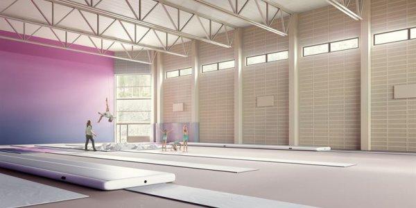 1 800 kvadratmeter gymnastik- och trampolinhall till Mölnlycke Fabriker